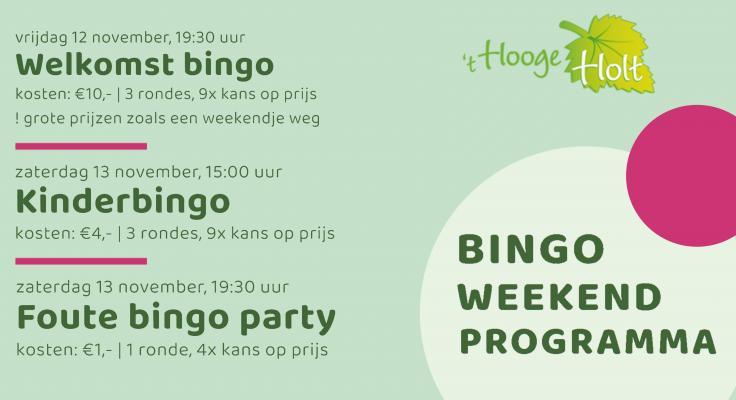 flyer met informatie over de welkomstbingo, kinderbingo en de foute bingo party